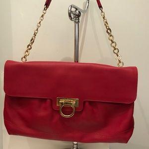 New Ferragamo red leather chain strap shoulder bag